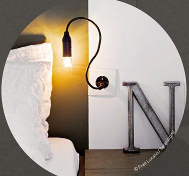 Applique vintage constituée d'une petite ampoule, d'un câble flexible que l'on peut tordre et disposer à volonté