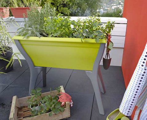 bac sur pieds pour plantes aromatiques balcon leroy merlin. Black Bedroom Furniture Sets. Home Design Ideas