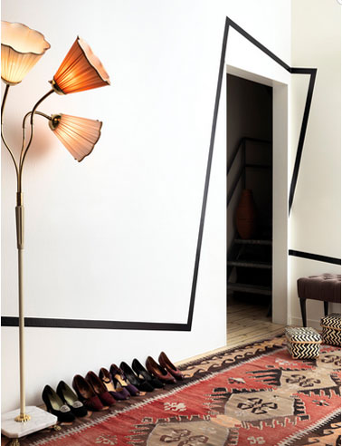 couleur salon blanc noir tapis kilim rouge. Black Bedroom Furniture Sets. Home Design Ideas