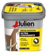 la sous couche ultra couvrante de Julien est ideale pour couvrir une peinture de couleur foncée avant d'appliquer une nouvelle couleur de peinture