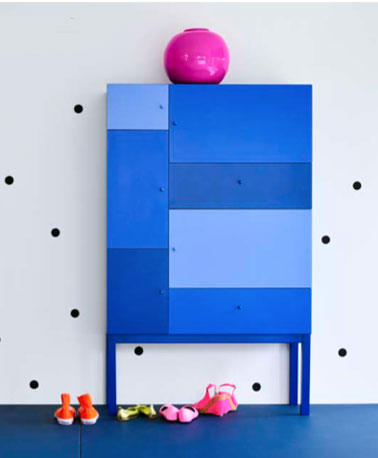 bahut rangement 5 portes 2 tiroirs couleur bleu fly. Black Bedroom Furniture Sets. Home Design Ideas