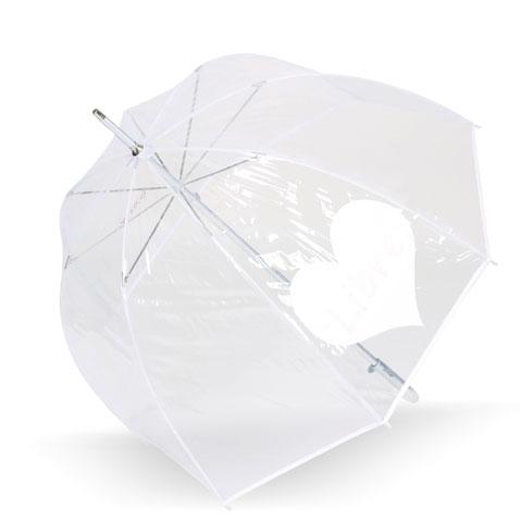 parapluie transparent qui change de couleur au contact de l'eau et fait apparaître un coeur libre