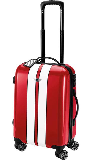 valise troylley adaptée au passage en cabine. couleur rouge bande blanche