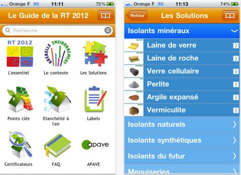 RT2012 L'application pour Iphone et androïd pour suivre la nouvelle règlementation en matière de consommation thermique pour les constructions neuves