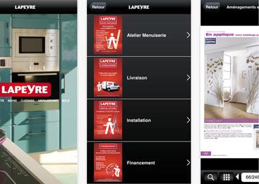 Application Lapeyre pour choisir et calculer taille et modèle fenêtres et portes, carrelage et salle de bains, consulter les catalogues et voir les promotions