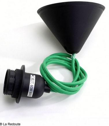 Système cable et douille électrique pour suspension gainé de coton vert émeraude