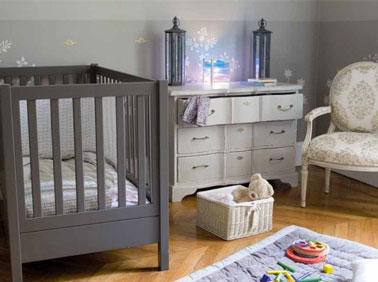chambre bebe couleur taupe gris et bleu ambiance romantique. Black Bedroom Furniture Sets. Home Design Ideas