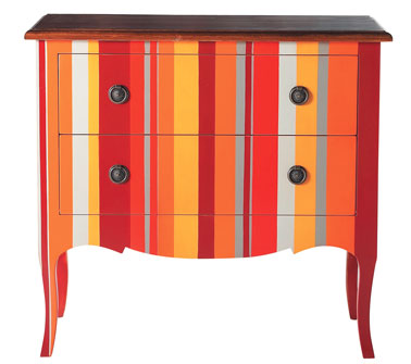 Commode sud Maison du monde deux tiroirs avec rayures de couleur orange et jaune