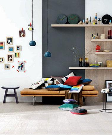 Pour marier les couleurs dans le salon, peinture mur blanc, panneau gris anthracite, canapé