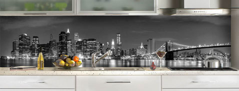 Credence cuisine en verre decor new york c macredence - Credence decorative en verre ...