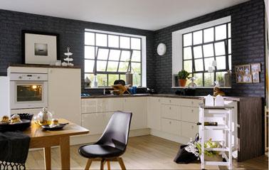 Cuisine en l mod le tonic couleur ivoire de fly - Modele de cuisine en l ...