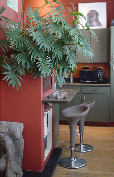cuisine grise et rouge pour la peinture avec touches de vert. Black Bedroom Furniture Sets. Home Design Ideas