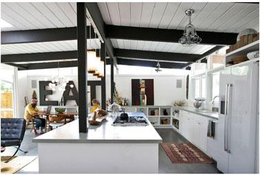 20 id es d co pour une cuisine grise deco for Grande cuisine ouverte sur salon