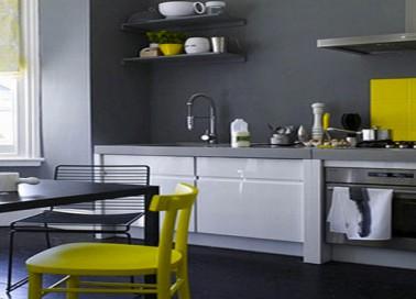 Peinture de cuisine cuisine meuble blanc mur jaune plus - Peinture meubles de cuisine ...