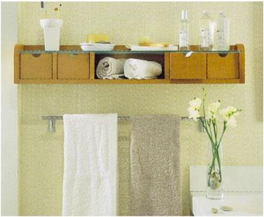 Etag re 5 casiers de rangement salle de bain - Rangement serviette salle de bain ...