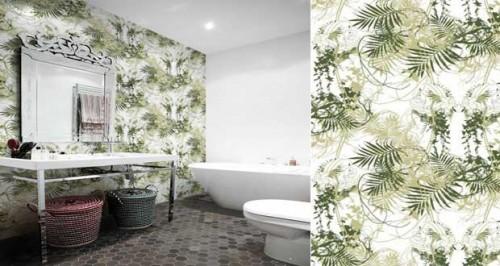 papier peint salle de bain sp cial murs et douche pour d co salle de bain. Black Bedroom Furniture Sets. Home Design Ideas
