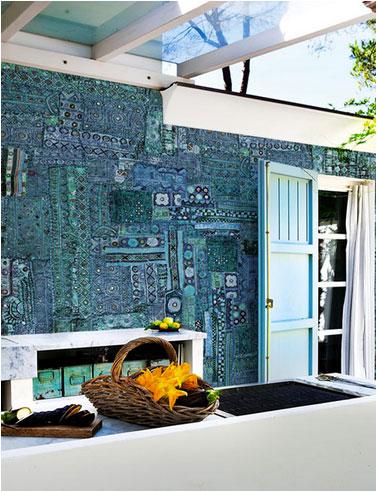 papier peint sur murs extérieurs terrasse couleur motifs bleu