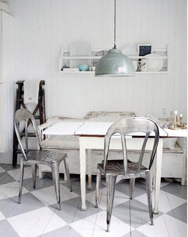 parquet cuisine style loft peint en gris et blanc. Black Bedroom Furniture Sets. Home Design Ideas