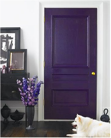 porte salon couleur peinture violet aspect satin. Black Bedroom Furniture Sets. Home Design Ideas