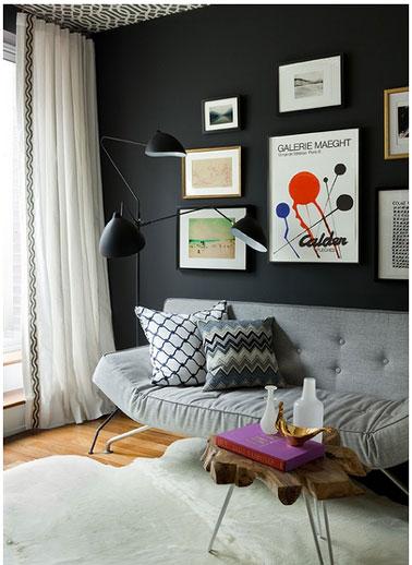 La couleur noir dans la d co du salon la chambre la cuisine for Idee peinture salon noir et blanc