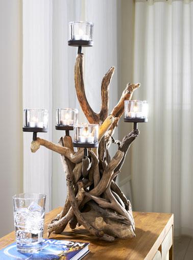 Bougeoir en bois flott 6 bougies helline for Bois flotte deco exterieur