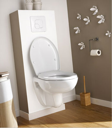 d 233 co toilettes taupe et blanc wc suspendu ekodo