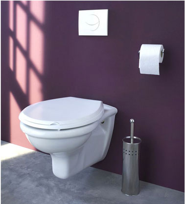 d co toilettes wc suspendu blanc mur couleur prune sol gris castorama. Black Bedroom Furniture Sets. Home Design Ideas