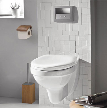 D coration toilette gris blanc wc suspendu cook levis castorama for Photos de toilettes design