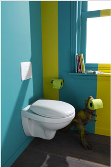 D co wc design avec cuvette wc suspendu d co cool for Peinture toilettes blanc