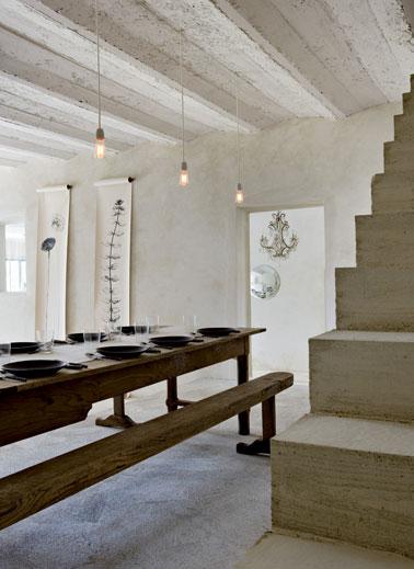 Salle a manger esprit mas provencal enduit a cirer couleur for Deco salle a manger ancienne