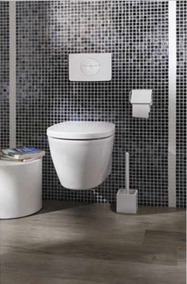 Toilettes carrelage mur noir sol parquet wc suspendu idealsoft for Carrelage mural wc
