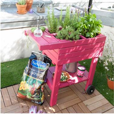Carré de jardin en pin et sur roulettes couleur rose  avec croisillons de séparation. 59.90 € chez Castorama