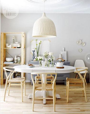 Décoration cuisine style scandinave avec un mixte de blanc et de bois couleur naturelle