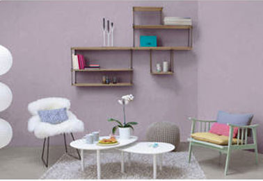 Enduit d coratif aspect lisse couleur glycine dans salon for Toupret decoration