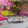 salon de jardin en corde rose et vert avec cadre metal gris