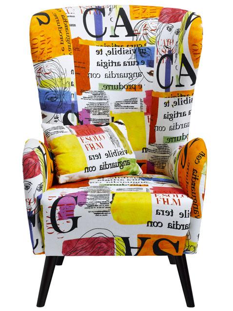 Fauteuil imprime orange bleu blanc noir helline - Fauteuil tissu imprime ...