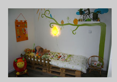 lit chambre enfant avec palette bois. Black Bedroom Furniture Sets. Home Design Ideas