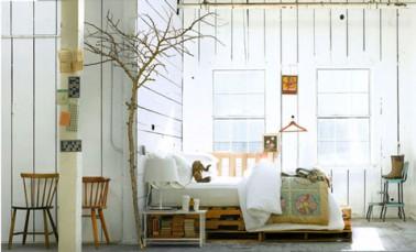 lit fait avec palette bois ambiance scandinave. Black Bedroom Furniture Sets. Home Design Ideas