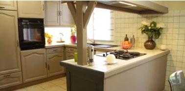 meubles de cuisine, crédence, et plan de travail peints avec la peinture Renov'cuisine de Syntilor