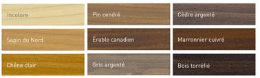 nuancier pour traiter bois extérieur 9 teintes conversant l'aspect naturel du bois