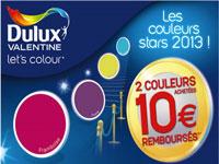 peinture monocouche et pots de peinture de couleurs Dulux Valentine, promotion spéciale