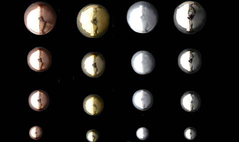 Serie de poignée bouton metal, 4 couleurs rosé, jaune laiton, gris mat et métal brillant