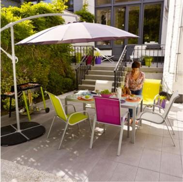 Fauteuil salon de jardin vert cresson table plateau de verre - Salon de jardin couleur ...
