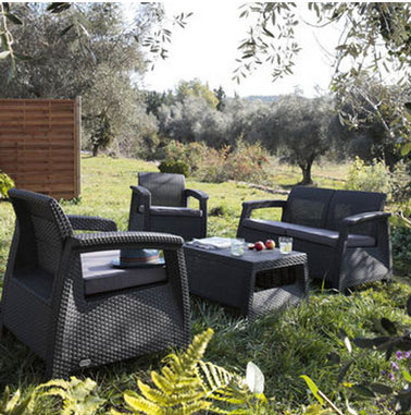 salon de jardin en r sine de synth se anthracite leroy merlin. Black Bedroom Furniture Sets. Home Design Ideas