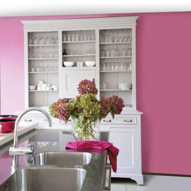 Du rose en couleur peinture cuisine c'est tendance avec un buffet ancien relooké avec une peinture blanche. Le plan de travail et l'évier inox apportent contraste et modernité. Peinture couleur rose de V33