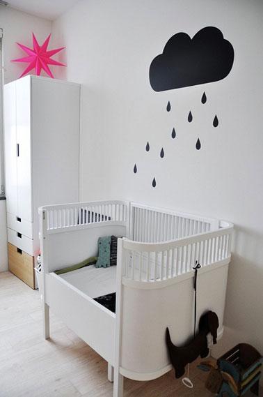 D co murale chambre b b avec nuage en peinture - Decoration murale chambre bebe ...