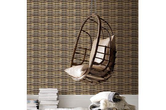 papier peint vintage intissé couleur marron imitation tissage osier dans salon chez Graham&Brown rouleau de 10m