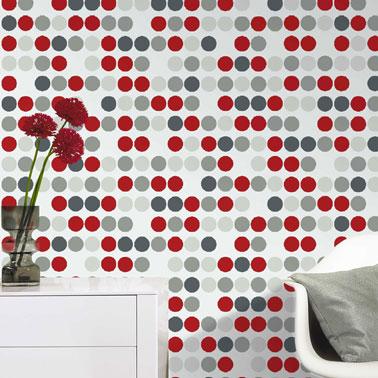Papier peint salon pastille rouge gris blanc castorama for Papier peint castorama salon