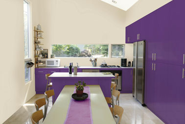 peinture cuisine couleur violet et lin julien. Black Bedroom Furniture Sets. Home Design Ideas