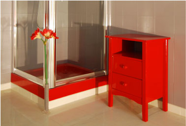 peinture r sine rouge sur meuble salle de bain resinence. Black Bedroom Furniture Sets. Home Design Ideas